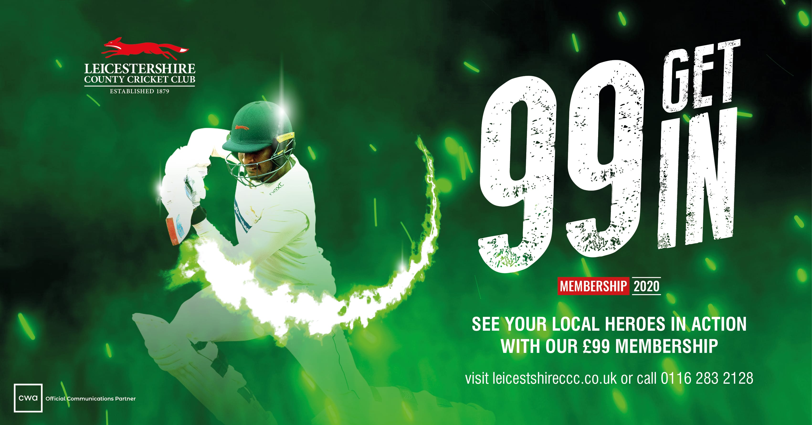 cwa lccc leicestershire county cricket club design social communications green