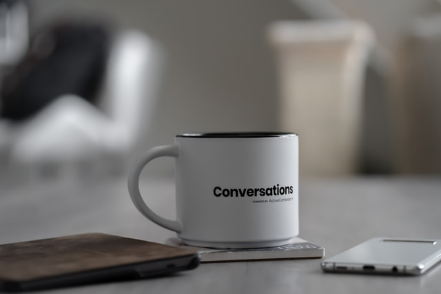 Mug with word conversations on
