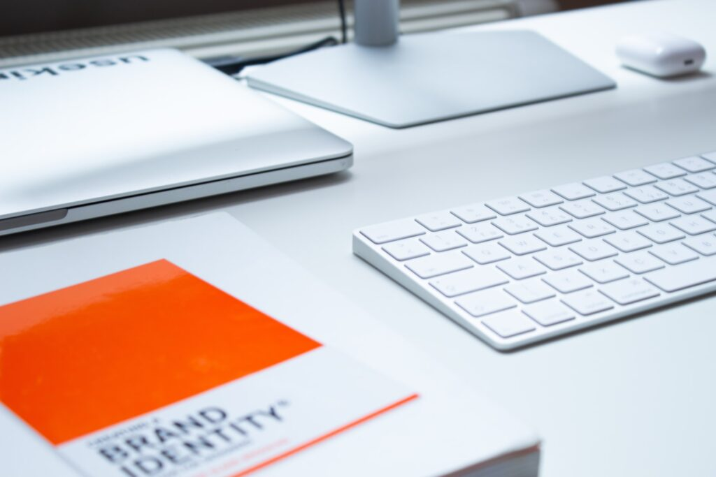 Brand identity book on office table