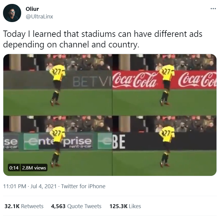 The tweet that started it all: with over 2.8M views, 125.3k likes and over 32k retweets, Twitter user @UltraLinx baffles the masses with the shortened video showing different ads on different channels.